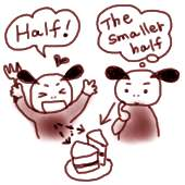 「ケーキを半分こ」は half と the half どっち?