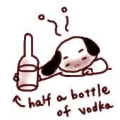 Halfの用法:half of vodka